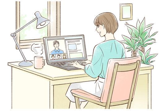 自宅でリモートワークする女性