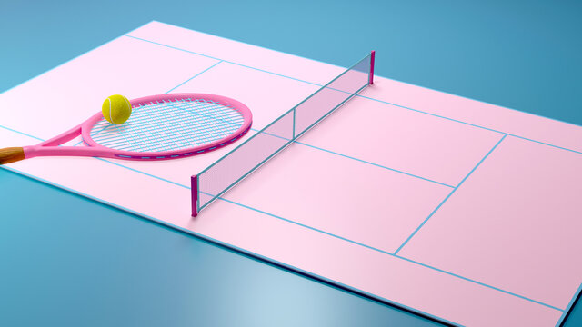abstract pastel pink blue color tennis court, Tennis balls and tennis racquet minimalistic  Sports, fitness, activity composition. 3d render