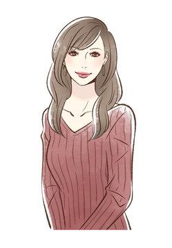 メイクをした笑顔の女性_ボルドー系
