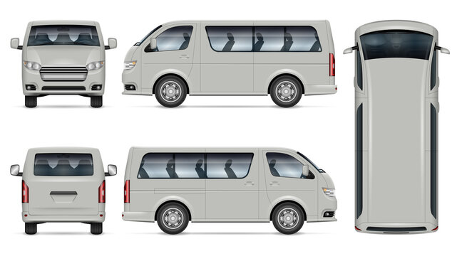 Minibus vector mockup. Isolated template of minivan on white for vehicle branding, corporate identity. View from side, front, back, top. All elements in the groups on separate layers for easy editing