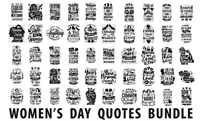 Fototapeta International women's day inspiring quotes bundle. Womens day quotes pack collection. women quotes vector art for print, merchandise and craft obraz
