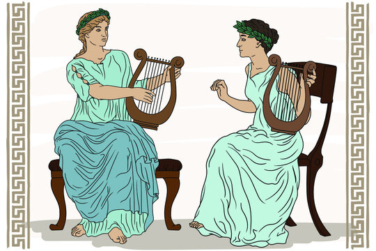 Two ancient Greek women with laurel wreaths on their heads and with harps in their hands are playing music.