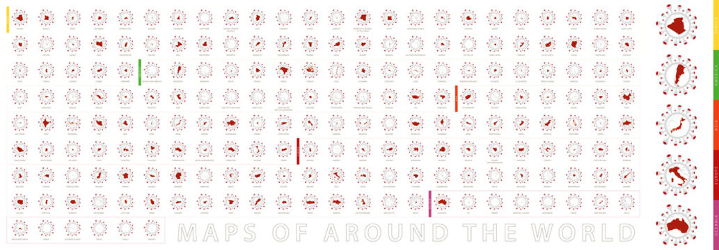 Maps of around the world collection in shape of virus.