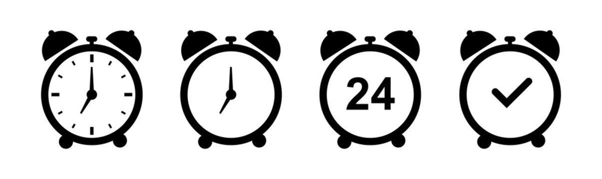 Set of alarm clock icons. Various alarm clock signs, alarm clock. Vector illustration.