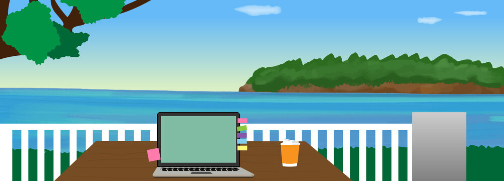 Worcation at the beach. remote work, resorts, laptop, vector illustration, landscape, copy space, web header, banner, water color, web camera, good views, mockup, sea, island, sunny sky, blue,