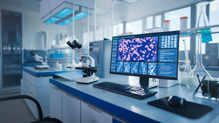 Modern Medical Research Laboratory. Scientific Lab, Drug Engineering Center Full of High-Tech...
