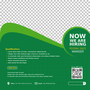 We are hiring regional sales manager design for companies. Square social media post layout. Job opening banner, poster, background template on green color