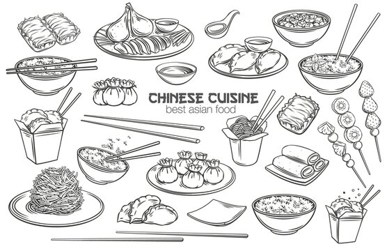 Chinese cuisine outline icon set. Asian food engraved monochrome vector illustration. Mapo tofu, rice, Dragons beard candy and tanghulu. Wok, peking duck, dumplings, wonton, fried noodles and rolls.