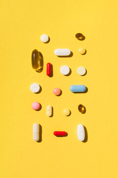 Various multicolored pills