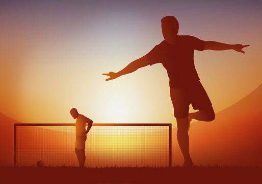 Concept du succès, avec un joueur de football qui hurle sa joie, après avoir marquer le but sur penalty, lors d'un match de championnat.