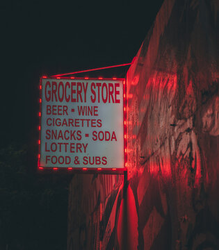 sign commerce store wynwood miami florida night lights red color poster