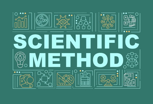 Scientific method word concepts banner. Discovering new things. Getting new knowledge. Infographics with linear icons on green background. Isolated typography. Vector outline RGB color illustration