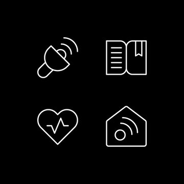 Mobile interface white linear icons set for dark theme. Lantern. Book reader. Health and wellness. Night mode customizable thin line symbols. Isolated vector outline illustrations. Editable stroke