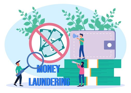 Illustration vector graphic cartoon character of anti stop money laundering