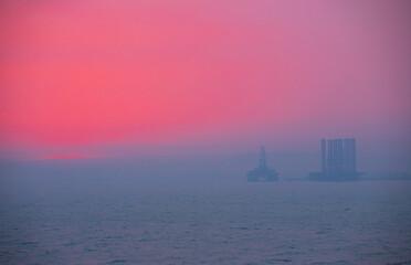 Baku. Azerbaijan. 08.01.2021 year. Sunset on the Shikhovo beach.