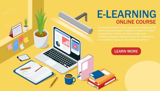 Isometric vector design of online education, e-learning used during COVID 19 pandemic, remote or distance course for academic students
