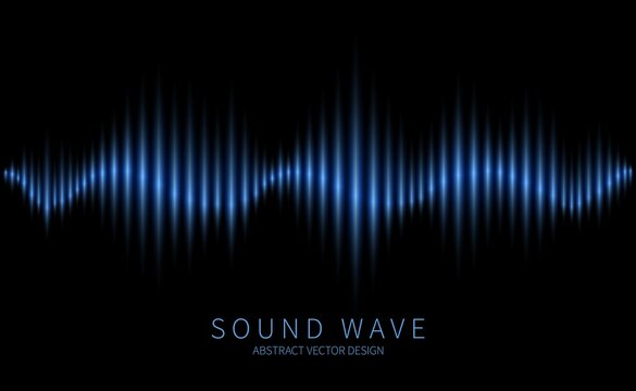 Abstract sound wave. Electromagnetic oscillation, music waveform, radio and voice waves. Modern electronic soundtrack technology vector background. Illustration sound radio equalizer