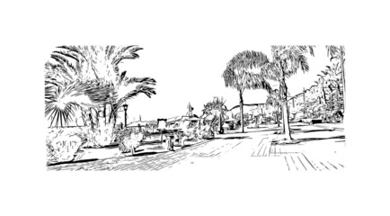 Building view with landmark of Antalya is the city in Turkey. Hand drawn sketch illustration in vector. Wall mural