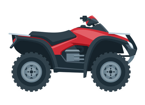 Quad bike in side view. motorcycle in flat style