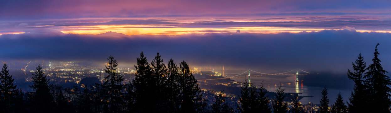 Foggy, morning sunrise and Lions Gate Bridge - Vancouver, BC Canada
