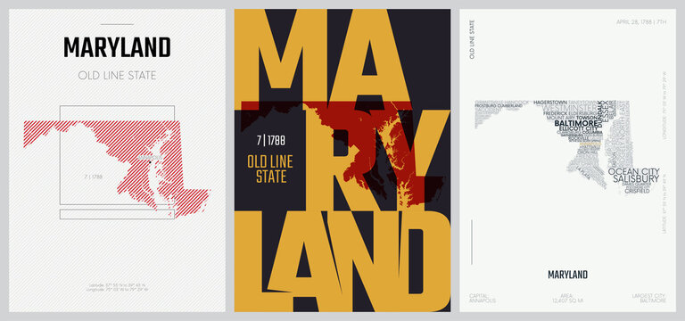 7 of 50 sets, US State Posters with name and Information in 3 Design Styles, Detailed vector art print Maryland map