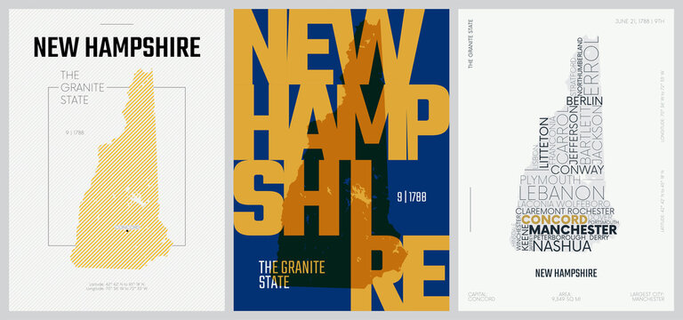 9 of 50 sets, US State Posters with name and Information in 3 Design Styles, Detailed vector art print New Hampshire map