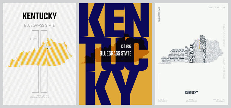 15 of 50 sets, US State Posters with name and Information in 3 Design Styles, Detailed vector art print Kentucky map