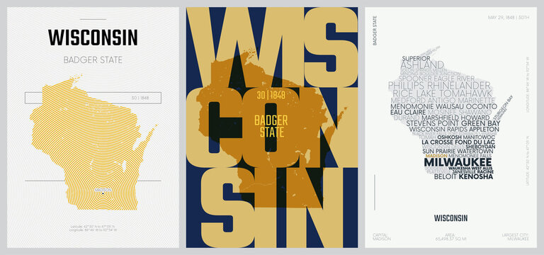30 of 50 sets, US State Posters with name and Information in 3 Design Styles, Detailed vector art print Wisconsin map
