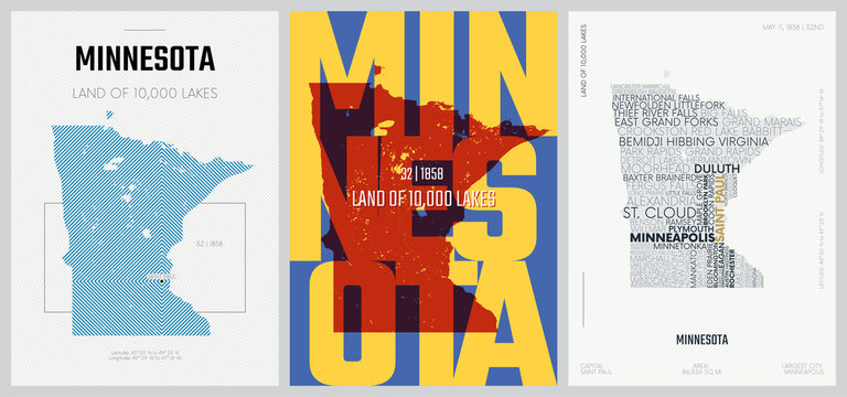 32 of 50 sets, US State Posters with name and Information in 3 Design Styles, Detailed vector art print Minnesota map