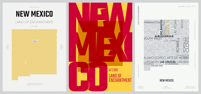 47 of 50 sets, US State Posters with name and Information in 3 Design Styles, Detailed vector art print New Mexico map