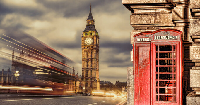 London symbols with BIG BEN, DOUBLE DECKER BUSES and Red Phone Booths in England, UK