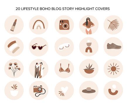 20 boho blog story highlight covers
