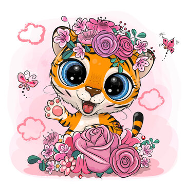 Tiger with flowers on a pink background