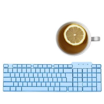 keyboard and lemon tea on white background
