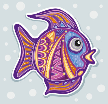 Stylized Ornamental decorative fish in Doodle style