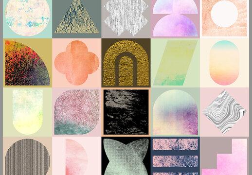 Geometric Shapes with Editable Photo Masks Art Kit
