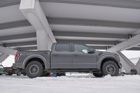 Saransk, Russia - February 13, 2021: Ford F-150 Raptor on the parking.