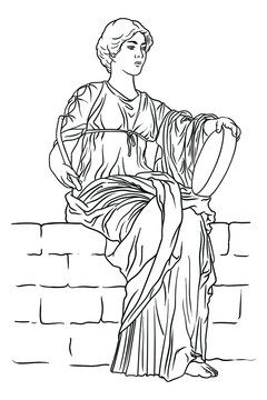 An ancient Greek young woman with a tambourine and a beater in her hands sits on a stone parapet.