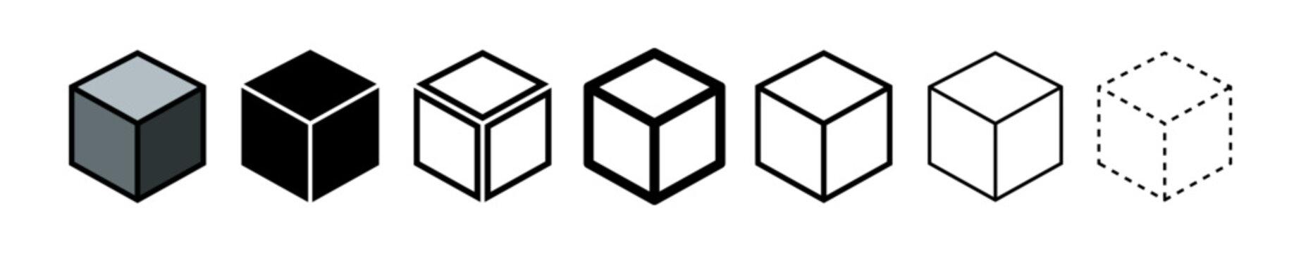 Set of cubes vector icons. Black simple cube pictogram. 3d box graphic concept. Graphic element vector.