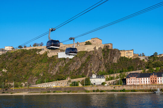 The cable car over the Rhine to the fortress Ehrenbreitstein in Koblenz