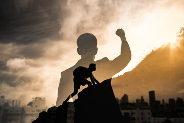 Fototapeta Never give up, mental strength and determination. Strong determined businessman in the city with fist in the air.  obraz