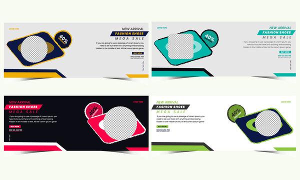 Modern creative facebook cover web banner design template set,