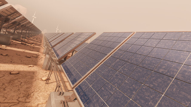 Dust and Sand Covered Solar Panel Surface in the Desert 3D Rendering