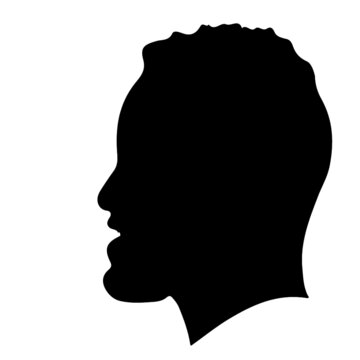 Black Man with Hair Smiling Silhouette Vector Illustration stock illustration