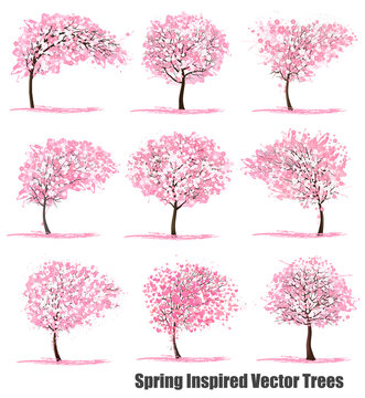 Big Set of Spring Inspired Vector Trees.