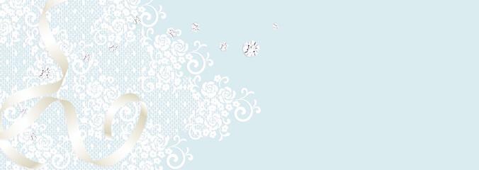バラのレースとダイアモンドとシルキーリボン ウエディングのイメージ