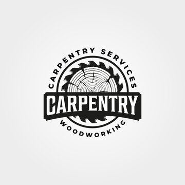 vintage carpentry logo vector design, woodwork emblem symbol illustration design