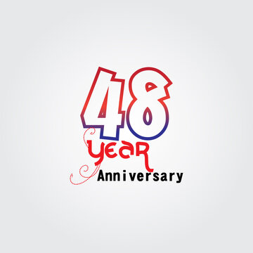 48 years anniversary celebration logotype. anniversary logo with red and blue color isolated on gray background, vector design for celebration, invitation card, and greeting card