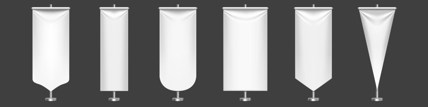 White pennant flags different shapes on metal stand. Vector realistic template of blank textile pennons on steel pole for sport teams, varsity or heraldic symbols isolated on transparent background