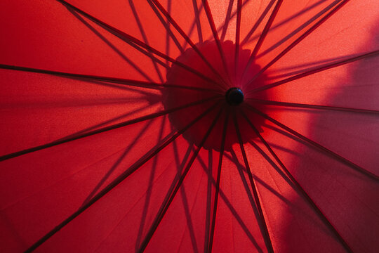detail view of red parasol